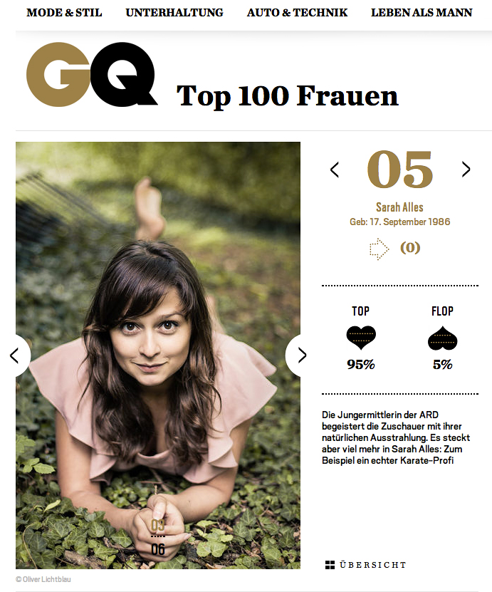 Sarah Alles in der GQ
